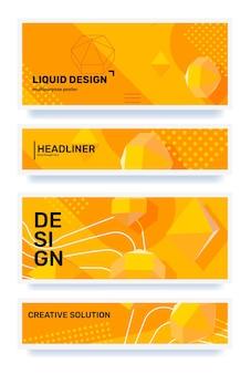 Ensemble d'illustration horizontale abstraite jaune créative avec en-tête d'élément 3d de forme dans le cadre