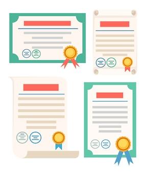 Ensemble d'illustration d'icône de certificat