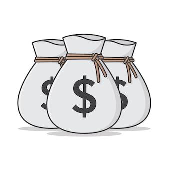 Ensemble d'illustration d'icône de sac d'argent.
