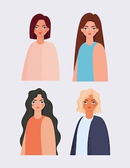 Ensemble d'illustration d'icônes de belles femmes