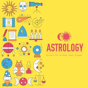 Ensemble d'illustration d'icônes de maison d'astrologie. concept d'articles horoscope.