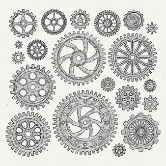 Ensemble d'illustration industrielle d'engrenages et de roues dentées de roues métalliques mécaniques.