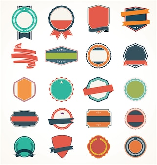 Ensemble d'illustration de l'insigne et des rubans d'autocollant d'étiquette vintage d'étiquette de bannière
