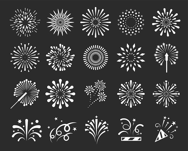 Ensemble d'illustration isolé de feux d'artifice