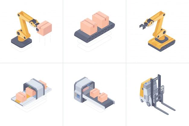 Ensemble d'illustration isométrique de dispositifs d'entrepôt intelligents