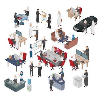 Ensemble d'illustration isométrique de gens d'affaires arabe