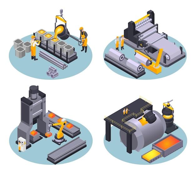 Ensemble d'illustration isométrique de l'industrie des métaux