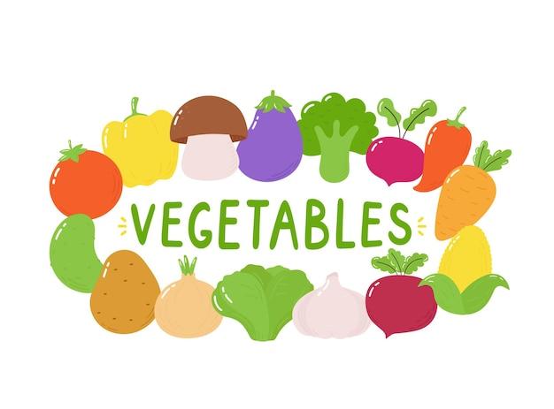 Ensemble d'illustration de légumes.