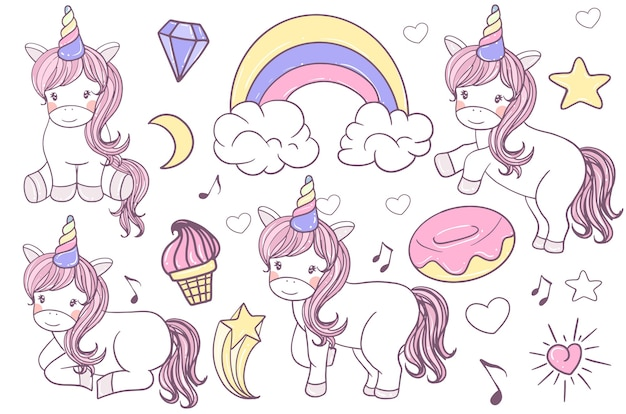 Un ensemble d'illustration de licorne mignon doodle dessinés à la main