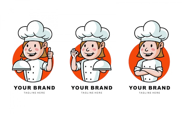 Ensemble d'illustration de logo de chef de bande dessinée pour restaurant