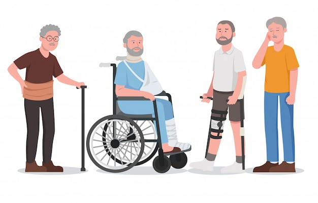 Ensemble illustration maladie blessure vieil homme personnage dessin animé