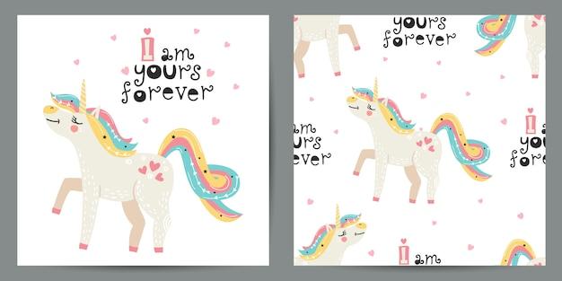 Ensemble d'illustration mignonne et modèle sans couture avec licornes