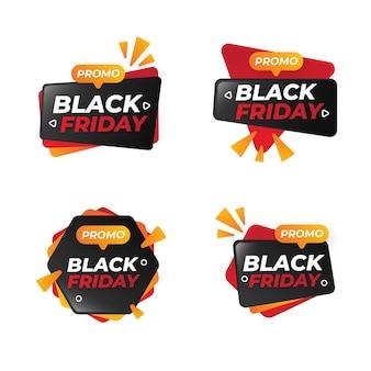 Ensemble d'illustration moderne d'icône d'insigne de vendredi noir