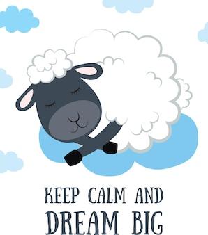 Ensemble d'illustration de moutons de croquis de dessin animé de vecteur avec la phrase de lettrage de motivation