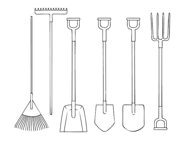Ensemble d'illustration d'outils de jardin différents