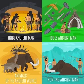 Ensemble d'illustration paléolithique