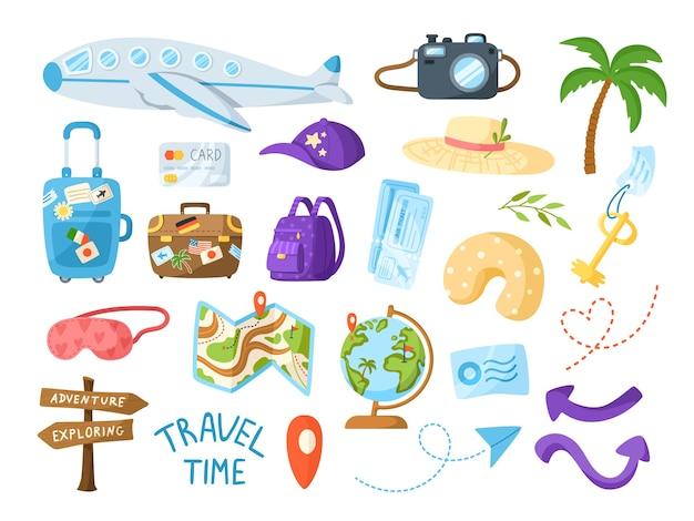 Ensemble d'illustration de paquet de dessin animé de voyage