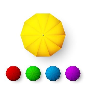 Ensemble d'illustration de parapluies de couleur