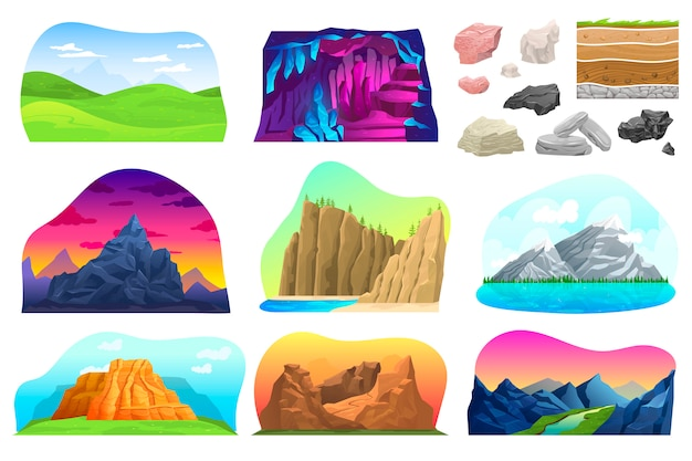 Ensemble d'illustration de paysage de colline de montagne, collection de bandes dessinées avec pic montagneux naturel rocheux avec neige, brouette, volcan rock