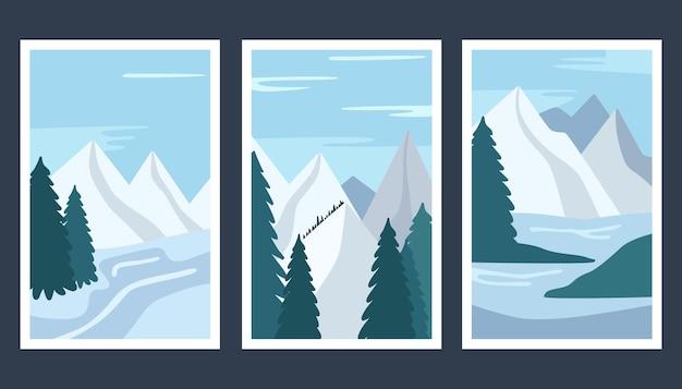 Ensemble d'illustration avec un paysage d'hiver.