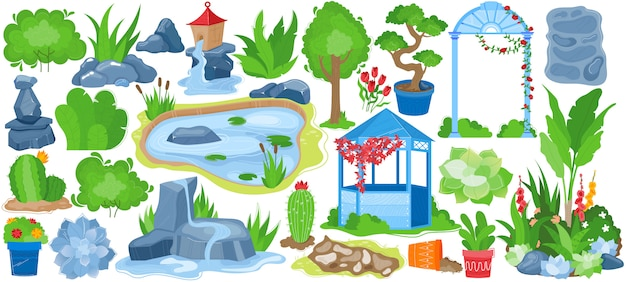 Ensemble d'illustration de paysage de jardin de parc, collection de jardinage de dessin animé avec arbre vert d'été naturel, pot de fleur, fontaine