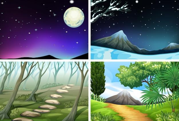 Ensemble d'illustration de paysage nature