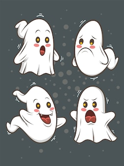 Ensemble d'illustration de personnage de dessin animé fantôme mignon - joyeux halloween