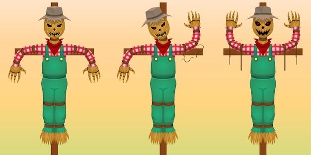 Ensemble d'illustration de personnage de dessin animé halloween, épouvantail avec visage maléfique, isolé sur fond dégradé