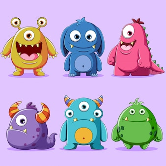 Ensemble d'illustration de personnage de monstres mignons