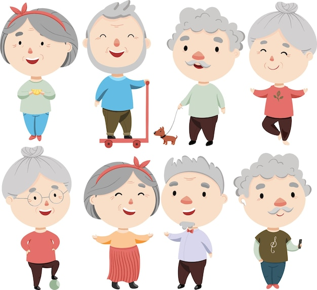 Ensemble d'illustration de personnes âgées modernes gaies mignonnes.