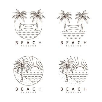 Ensemble d'illustration de plage monoline ou modèle de conception de vecteur de style art en ligne