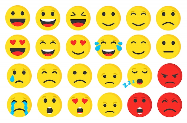 Ensemble d'illustration plate emoji smiley mignon.
