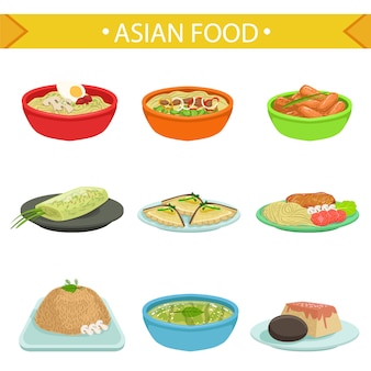 Ensemble d'illustration de plats célèbres de cuisine asiatique