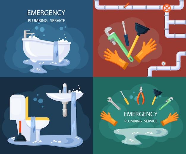 Ensemble d'illustration de plomberie d'urgence.