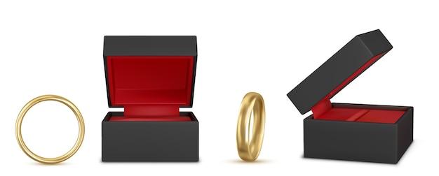 Ensemble d'illustration réaliste de belles bagues de mariage