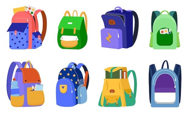 Ensemble d'illustration de sac à dos enfant