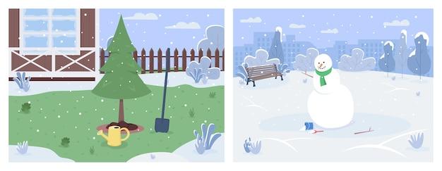 Ensemble d'illustration semi-plat de paysages d'hiver. jardin de la maison avec culture de pins. bonhomme de neige dans un parc urbain. loisirs en famille. paysage de dessin animé 2d de saison froide pour collection à usage commercial