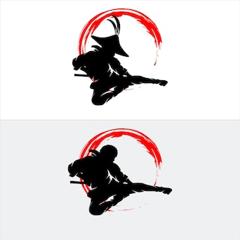 Ensemble d & # 39; illustration de silhouette ninja