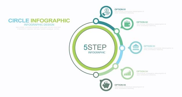 Ensemble d'illustration stock d'éléments d'infographie numéro d'infographie 5 étapes icône de cercle qui coule