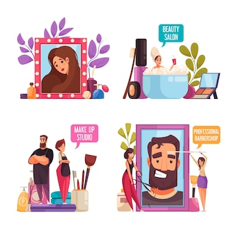 Ensemble d'illustration de styliste esthéticienne de maquillage