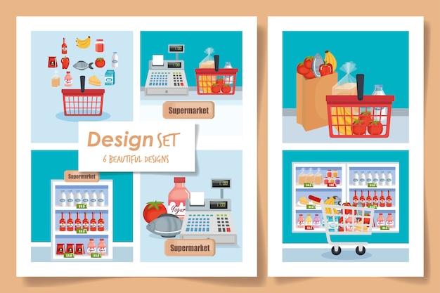 Ensemble d'illustration de supermarché de scènes