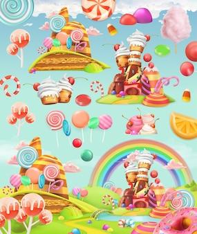 Ensemble d'illustration de terre de bonbons sucrés