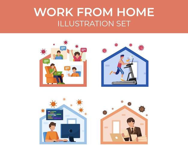 Ensemble d'illustration de travail à domicile