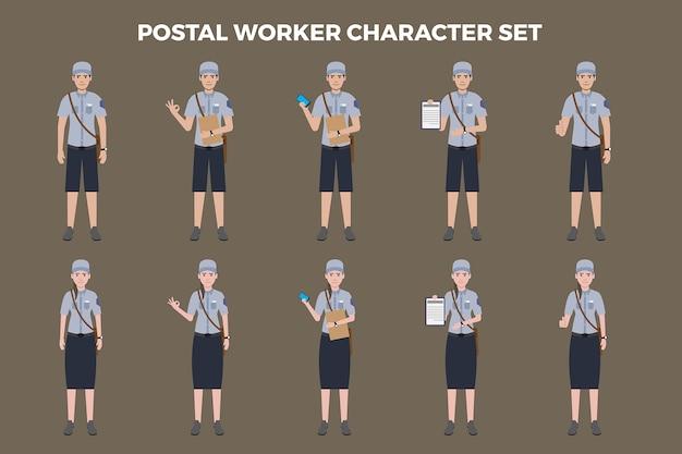 Ensemble d'illustration de travailleur postal