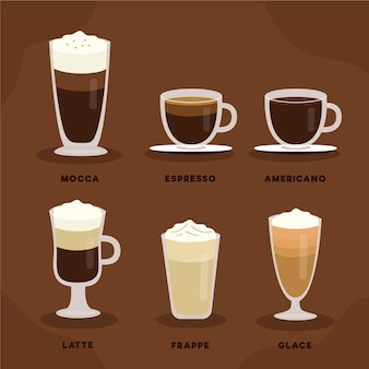 Ensemble d'illustration de types de café