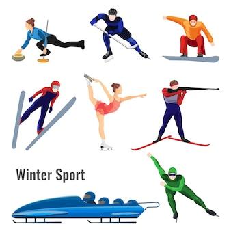 Ensemble d'illustration de vecteur d'activités de sports d'hiver isolé sur blanc. les gens patinent, jouent au hockey, tirs d'un fusil de biathlon, font du bobsleigh et du ski