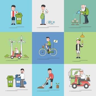 Ensemble d'illustration de vecteur de l'environnement