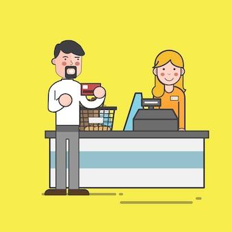 Ensemble d'illustration de vecteur de supermarché