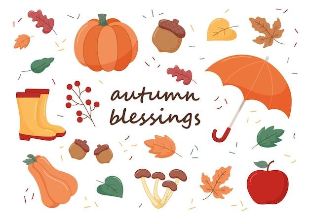 Ensemble d'illustration vectorielle de bénédictions d'automne