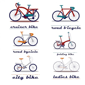 Ensemble d'illustration vectorielle de bicyclette
